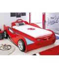 Кровать машина COUPE c выдвижной кроватью (без матраса), матрас 90х190/90х180см красная купить в интернет-магазине