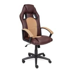 Кресло DRIVER экокожа+ткань, коричневый/бронзовый