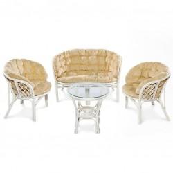 Комплект кофейный БАГАМА (стол+2 кресла+диван), 03/10 W (белый)