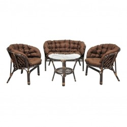 Комплект кофейный БАГАМА S (стол+2 кресла+диван, подушка твил)