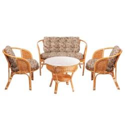 Комплект кофейный БАГАМА Wicker (стол+2 кресла+диван), подушки ткань Motif