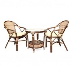 Комплект кофейный ELLENA-2 (кофейный стол + 2 кресла), темно- коричневый