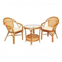 Комплект кофейный ELLENA-2 (кофейный стол + 2 кресла), коньяк