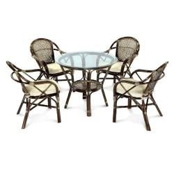 Комплект обеденный ELLENA (обеденный стол + 4 кресла), темно- коричневый