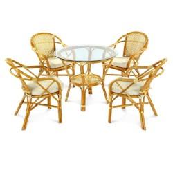 Комплект обеденный ELLENA (обеденный стол + 4 кресла), коньяк