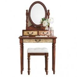 Туалетный столик Cilan коричневый с пуфом