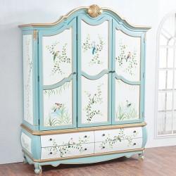 Шкаф 3-двери Fleur chantante, Голубой цветок
