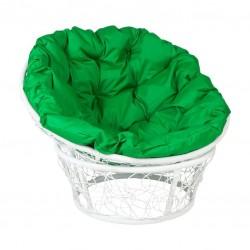 Кресло Papasan, цвет плетения белый, цвет подушки зеленый 23/01 met (5)