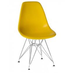 Стул обеденный DOBRIN DSR LMZL-PP638A, ножки хром, желтый