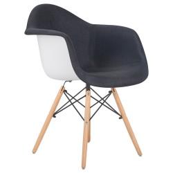 Стул обеденный DOBRIN DAW ROSS LMZL-PP620-012, ножки светлый бук, сиденье 012 белый пластик, чёрная ткань
