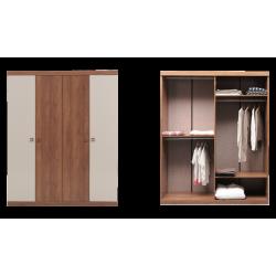 Шкаф 4-дверный MISTRAL Enza Home орех/бежевый