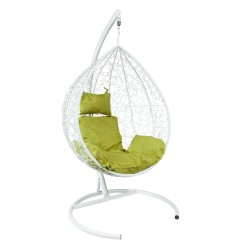 Подвесное кресло Z-10 (5), цвет белый, подушка – зеленый, каркас – белый