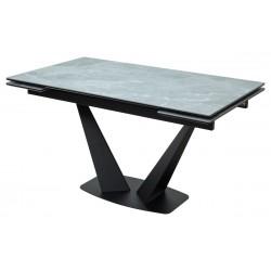 Стол Ниагара 140 Серый мрамор, керамика / черный каркас