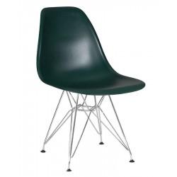 Стул обеденный DOBRIN DSR LMZL-PP638A, ножки хром, темно-зеленый