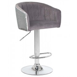 Стул барный DOBRIN DARCY SHINY LM-5025 серый с серебряными пайетками